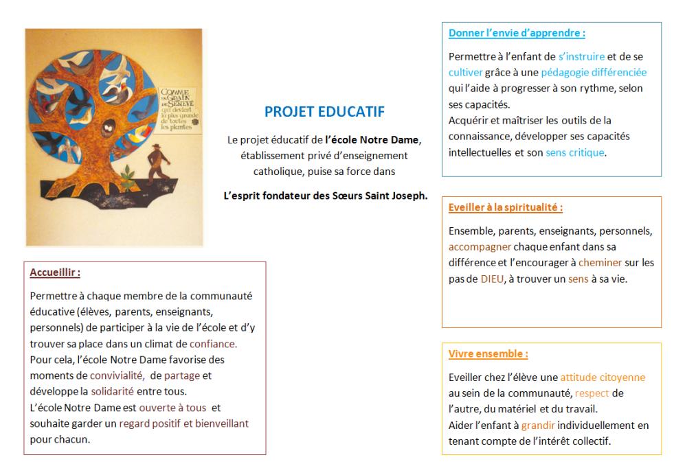 PROJET EDUCATIF ND